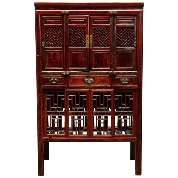 Chinese Lacquered Kitchen Cabinet With Lattice Doors