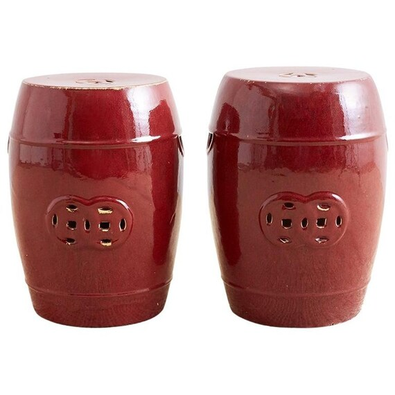 Awesome Chinese Oxblood Sang De Boeuf Style Garden Stools Unemploymentrelief Wooden Chair Designs For Living Room Unemploymentrelieforg