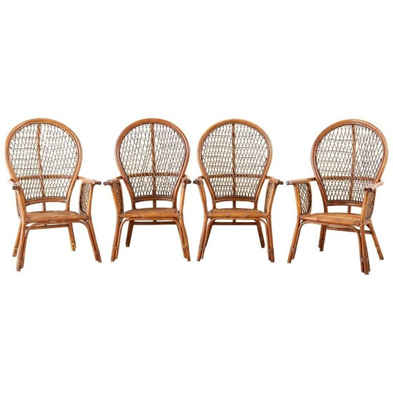 Set Of Four Ficks Reed Rattan Peacock Lounge Chairs Etsy