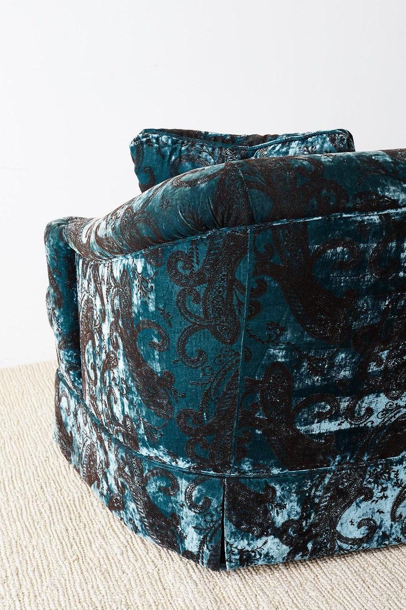 Blue Emerald Velvet Paisley Print Curved Back Settee