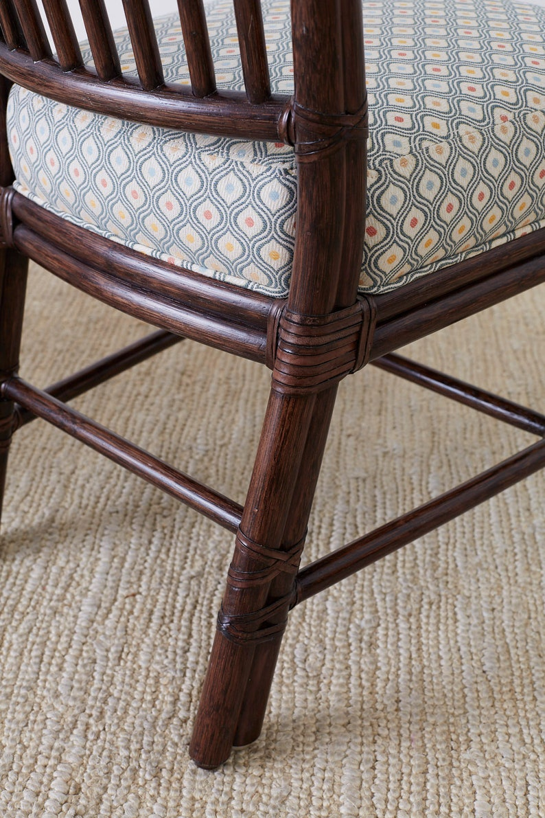 Set of Ten Orlando Diaz-Azcuy for McGuire Rattan Dining Chairs