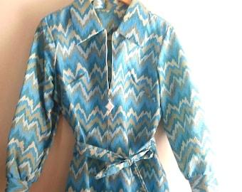 70's Sky Blue Chevron Midi Dress  / Size M~L / Mod / Retro / Disco Collar Dress
