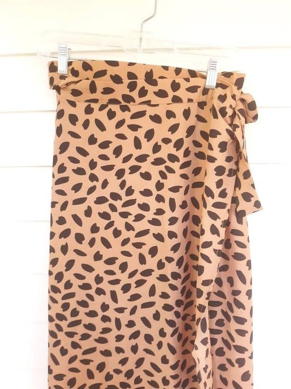 Vintage Animal Novelty Print Wrap Maxi Skirt/S-M