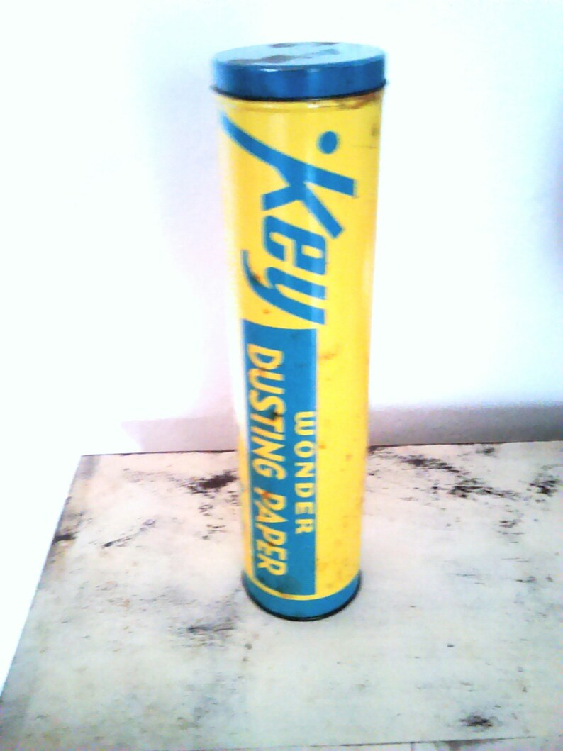 Atomic Era Industrial Key Wonder Dusting Paper Tin  Canister  Collectibles   Industrial Decor  Detroit Michigan  Cylinder Tin  Storage