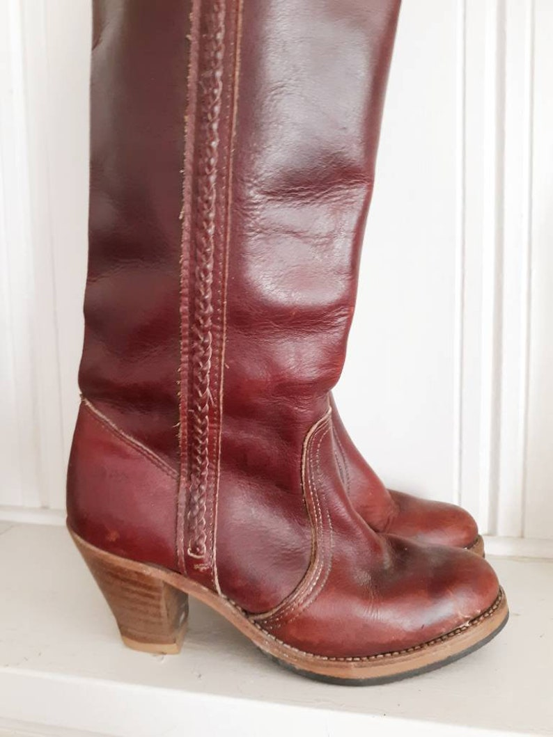 93abcf487514f Vintage Dexter Leather Oxblood Wooden Heeled Boots/ Size 6 / Tall Boots /  Western Boots