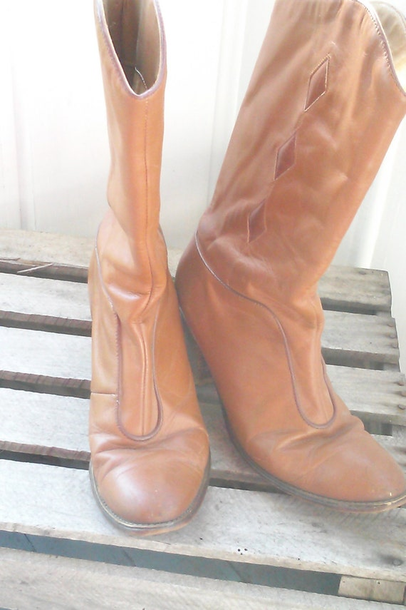Women's Vintage Calf Leather Vintage Mid Diamond Auburn USA US Boots Made Cowboy Size in 6 Boots 5 x4BnnqU