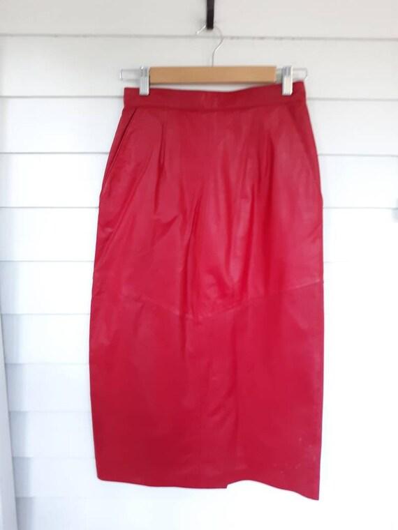Vintage Evan Picone Red Leather Pencil Midi Skirt