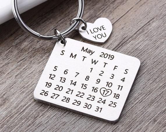 Portachiavi calendario personalizzato per San Valentino o anniversario