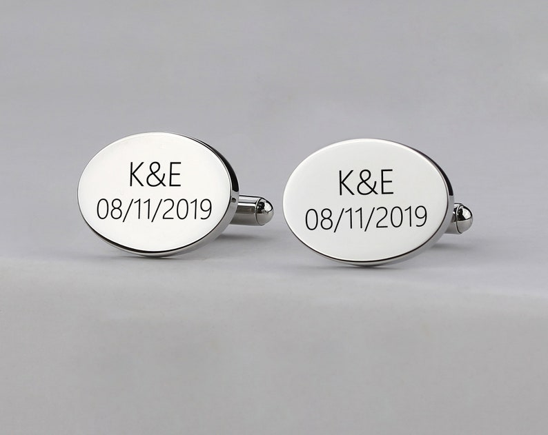 Personalized Round Cufflinks,Personalized Cuff Links Personalised Engraved Silver Father of the Groom or Bride Wedding Cufflinks