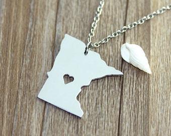 I heart Minnesota Necklace - Minnesota Pendant - State Necklace - State Charm - Map necklace - Map Jewelry