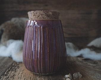 Ceramic Jar with cork lid - Raspberry Fields Forever