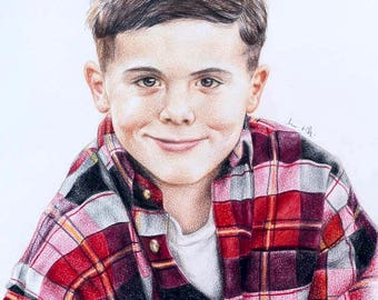 CUSTOM colored pencil portrait - family drawing children's portrait