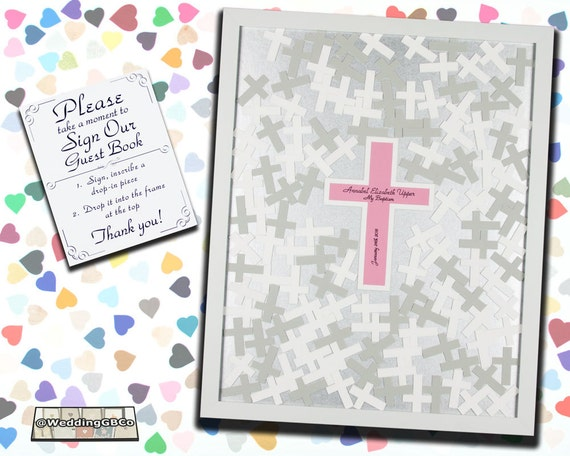 Cross Wedding Guest Book Frame Drop in Top Crosses Guestbook | Etsy