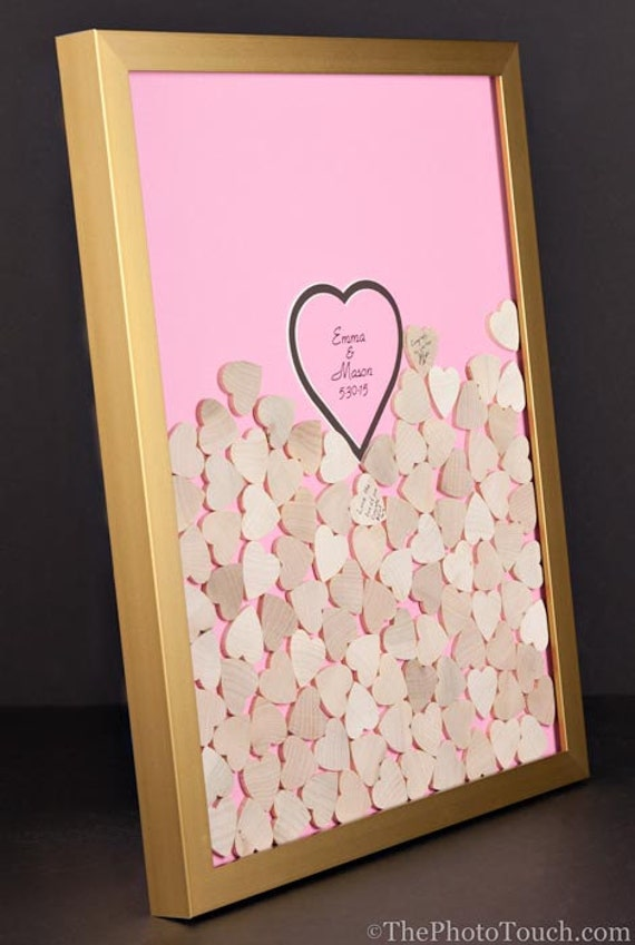 Wedding Guest Book Plinko Drop in Hearts Frame Pick your | Etsy