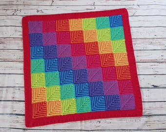 Hand knitted newborn baby toddler blanket RAINBOW
