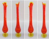 1960 39 s Vintage Mid Century Modern Style Fenton Orange Red Yellow Amberina Swung Stretch Glass Footed Flower Vase, 17.5 quot Tall MCM Decor