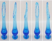 1960 39 s Vintage L. E. Smith Mid Century Modern MCM Style Cobolt Aqua Blue Swung Stretch Glass Flower Vase with Footed Base, 17.5 quot Tall