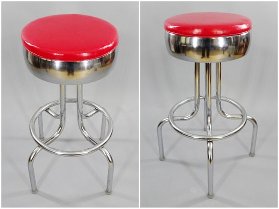 Swell 1940S 1960S Vintage Steak Shake Diner Bar Stool By Vitro Products Inc Of St Louis Bulged Ring Chrome Swiveling Red Vinyl Seat Cjindustries Chair Design For Home Cjindustriesco