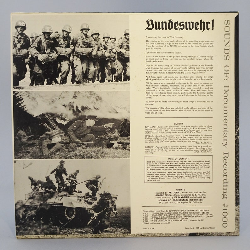 Bundeswehr! Battle Sounds & Marching Songs of the New German Army!  Documentary Recordings #1000, 1962 Vinyl Record