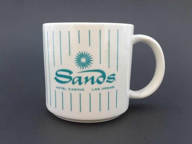 Vintage Historic Sands Hotel Casino Las Vegas Coffee Mug Cup Blue And White