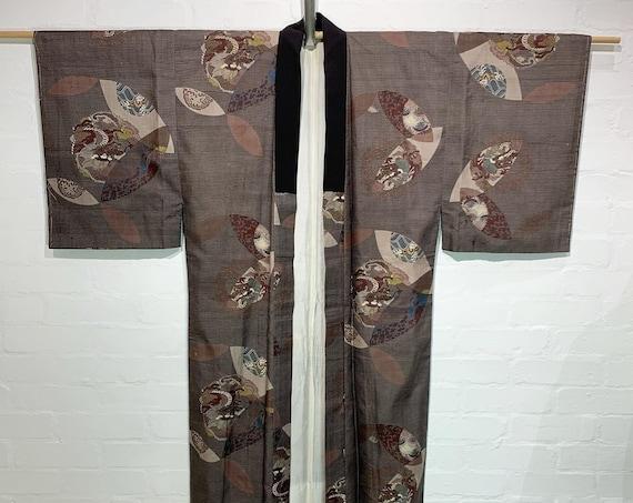 Circa 1910-20s Men's Silk Nagajuban under Kimono: Dragon Circles, Good Fortune Repeated Circle & Other Fortune Symbols