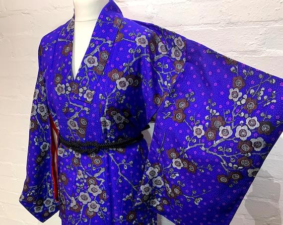 RESERVED Circa 1920-30s Vintage Kimono: Blue Purple and Brown Silver Plum Blossom