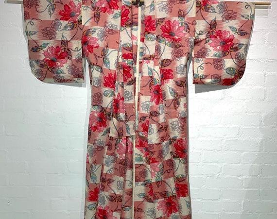 Circa 1920-30s Vintage Silk Meisen Ikat Flat Woven Kimono: Pink x white x grey Checker with Abstract Pink Margaret flower