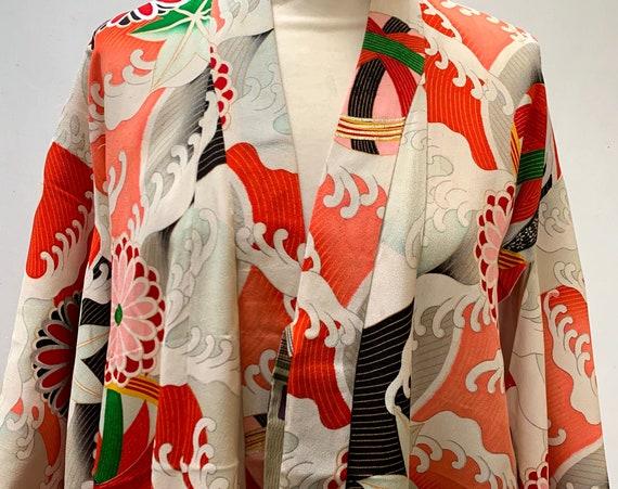 RESERVED; Circa 1920s Vintage Kimono: Sea wave, Chrysanthemums, and Mari Ball(decorative ball) Pattern, Small size