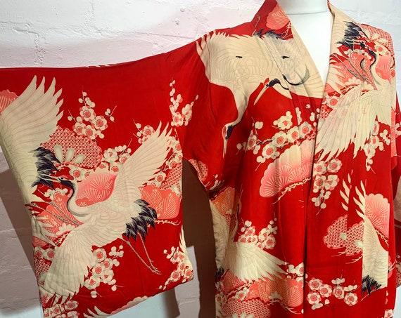 SOLD Circa 1920s Vintage Silk Nagajuban Under Kimono: Red, Pink, and White with Crane Birds, Pine tree, Plum Blossoms Pattern