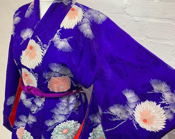 Circa 1930-50s Vintage Kimono: Purple Silk Mixed Jacquard with Chrysanthemums and Pine tree Pattern