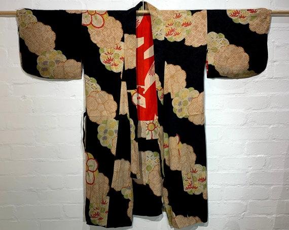 Circa 1920-30s Vintage Silk Floral Jacquard Dochugi (道中着) Kimono Jacket