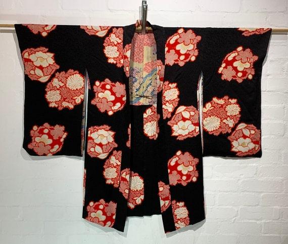 RESERVED Circa 1930s Silk Haori Jacket: Camellia Tsubaki, Plum blossoms, and Chrysanthemums Flower Ball Pattern