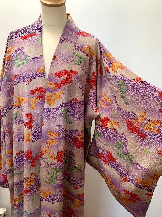 Circa 1920-30s Vintage Silk Chirimen Crape Nagajuban Kimono: Purple, Red, Maple leaves & clounds
