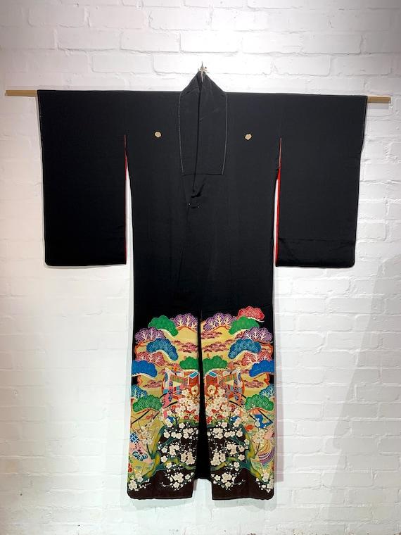 Circa 1920s Silk Kimono Black Kurotomesode