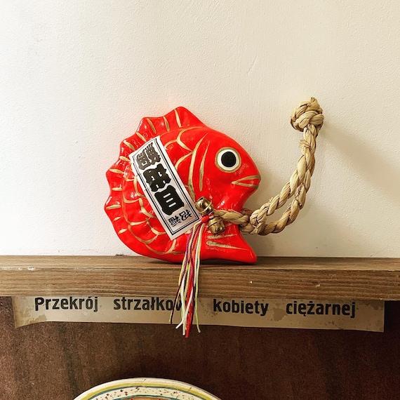MEDETAI HARIKO: googly eyed red snapper paper mache (HARIKO) Hand crafted ornament
