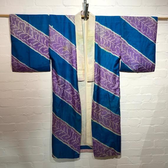 "Circa 1920s Vintage Silk Nagajuban Kimono: ""Tokkofuji""(独鈷藤) Wisteria Stripe Pattern Tie-dye,Blue x Lilac Purple"