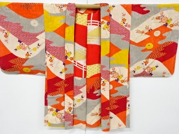 SOLD: Circa 1920-30s Vintage Silk Haori KIMONO  Kinsa Silk  with Abstract Wave & Fortune Symbols