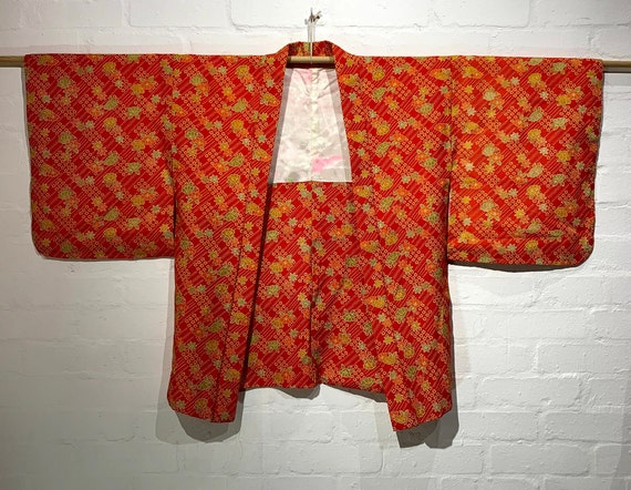 Circa 1970-85s Wool Haori Jacket: Orange red flower and botanical print