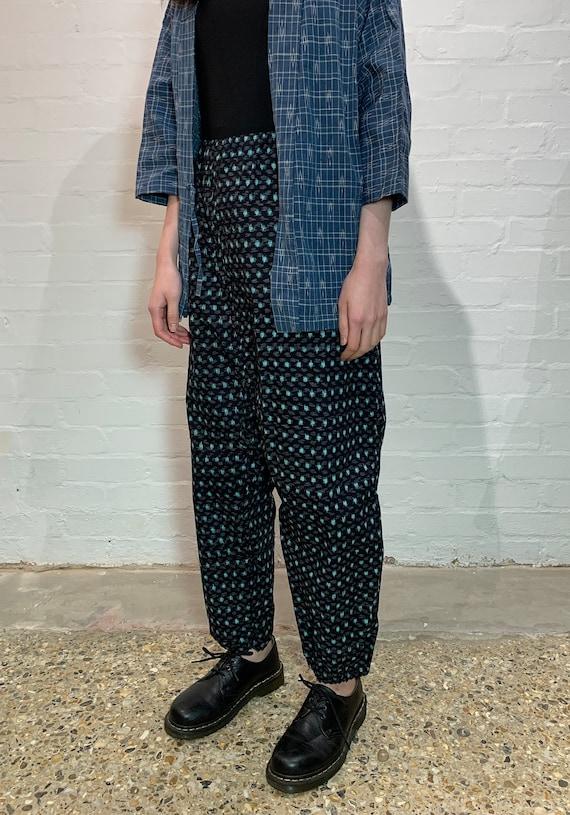 Kasuri Ikat Woven cotton Farmer's Trousers: Navy x Blue