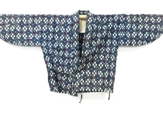 Circa 1920-30s Vintage Cotton Kasuri Ikat Woven Noragi Farmars Work Jacket: Navy x White x Red x Grey, Geometric Pattern