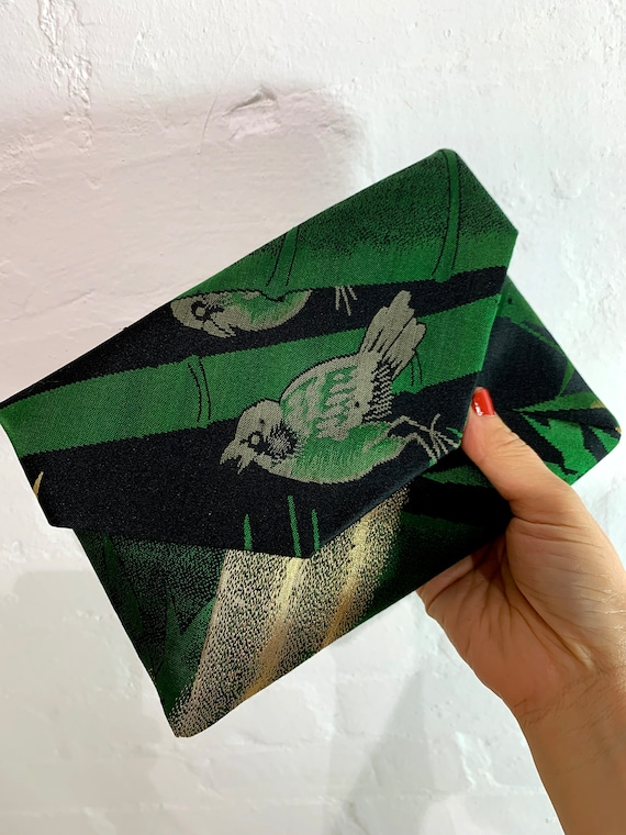 SUKI Silk OBI upcycled Sukiya-bukuro Clutch(Black x Green x Gold Sparrow & Bamboo)