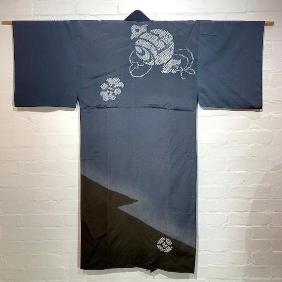 Vintage Mens Nagajuban Kimono: Grey Tie-dye & blur dye, Money Hammer x fortune symbols