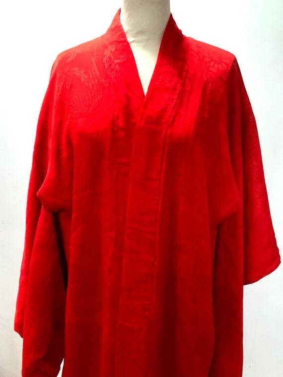 Circa 1920-30s Vintage Silk Beni Red Jacquard Nagajuban for Special Occasion Kimono