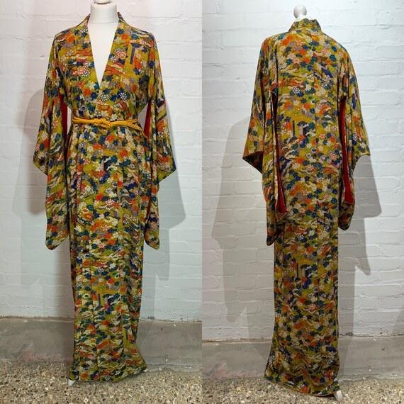 Circa 1920-30s Vintage Kinsa Silk Kimono: Mustard Yellow with Fukiyose Pattern