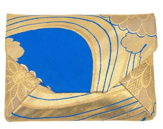 SUKI Silk Clutch OBI upcycled Sukiya-bukuro  (Gold x Blue Chrysanthemum & Seawave)