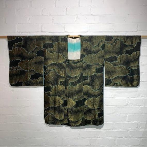 Circa 1950s Vintage Silk Urushi Metallic Jacquard Michiyuki Jacket/Coat: Black x Gold lame with Cloud Pattern