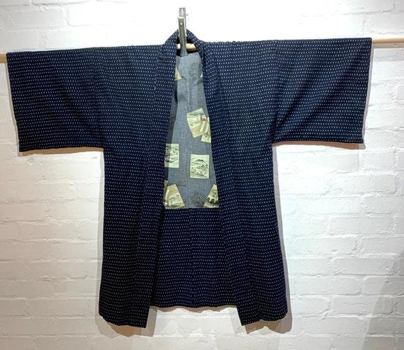 SOLD Postwar 1940-50's Cottonn Kasuri Woven Hanten Haori Work Jacket: Navy x White Dots Pattern
