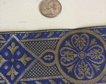 Blue gold Celtic cross vestment trim 2.5 in. wide by the yd