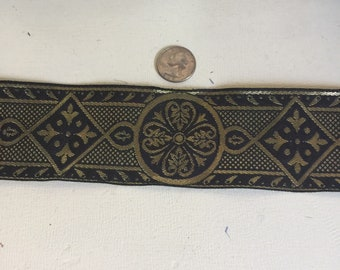 Black gold Celtic cross vestment trim 2.5 in. wide by the ydd