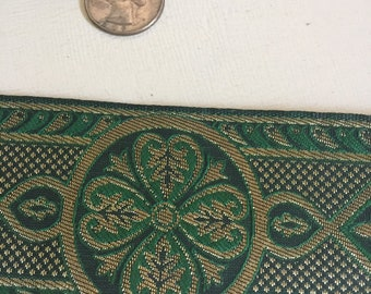 Green gold Celtic cross vestment trim 2.5 in. wide by the ydr
